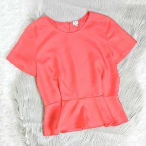 Aritzia Wilfred 100% Silk Pink Peplum Blouse Sz 4